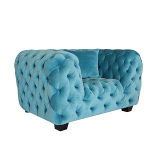 Pasargad Home Casa Milano Velvet Tufted Armchair For Sale