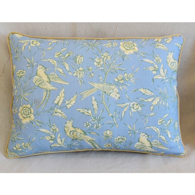 """Adirondack Scalamandre Aviary Linen & Velvet Feather/Down Pillows 25"""" X 18"""" - Pair For Sale - Image 3 of 13"""