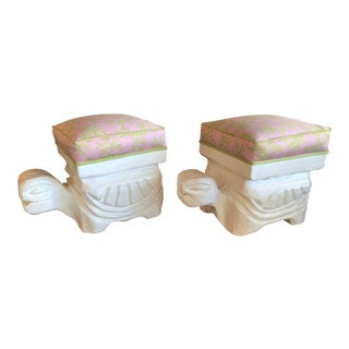 Lily Pulitzer Lacquer Turtle Benches Stool - A Pair For Sale