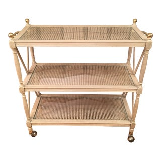 1950s Vintage French Directoire Style 3 Tier Bar Cart For Sale