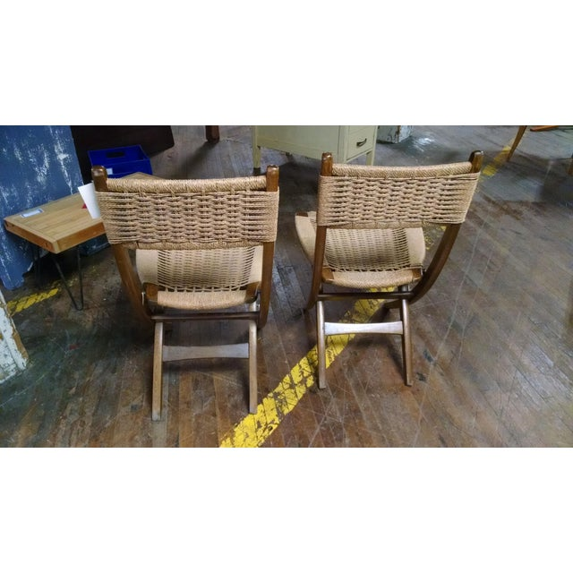 Danish-Style Folding Accent Chairs - A Pair - Image 3 of 6