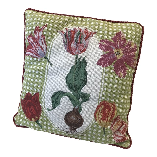 Early 20th Century Antique Tulip Needlepoint Pillow For Sale