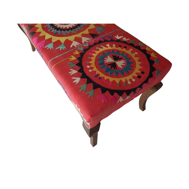 Set of 5 Suzani Covered Bench Handmade Ottoman From Anatolian With 4 Pieces Footstool For Sale In Dallas - Image 6 of 13