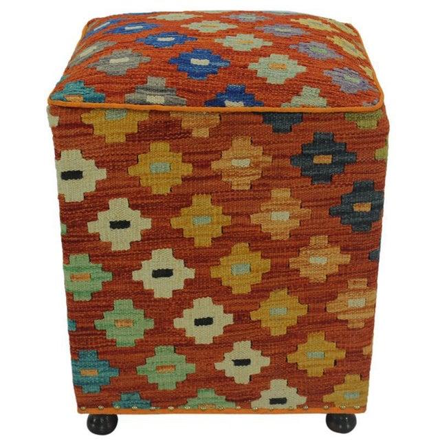 Hammer Orange Handmade Kilim Upholstered Ottoman For Sale In New York - Image 6 of 8