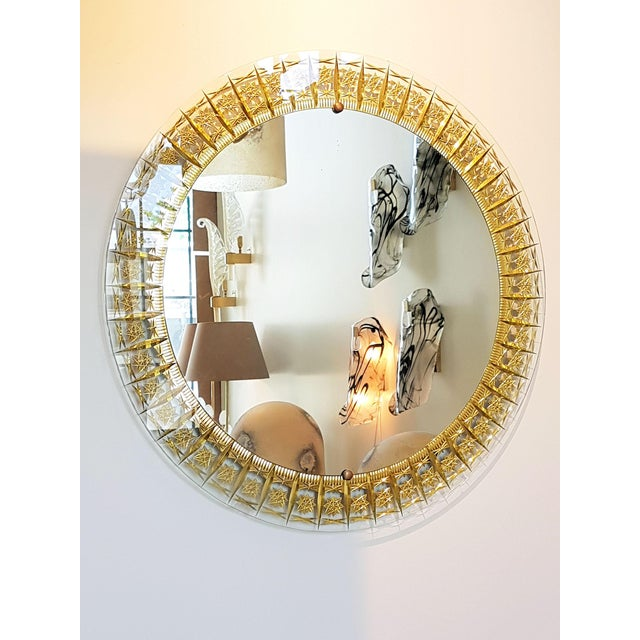 Cristal Arte Round Mid Century Modern Mirror, Glass Gold Carved Frame For Sale In Boston - Image 6 of 6