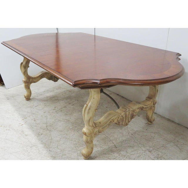 French Style Distressed Cream Painted Dining Table Chairish - Cream distressed dining table