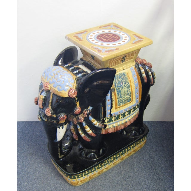 Vintage Polychrome Elephant Garden Stool - Image 3 of 7