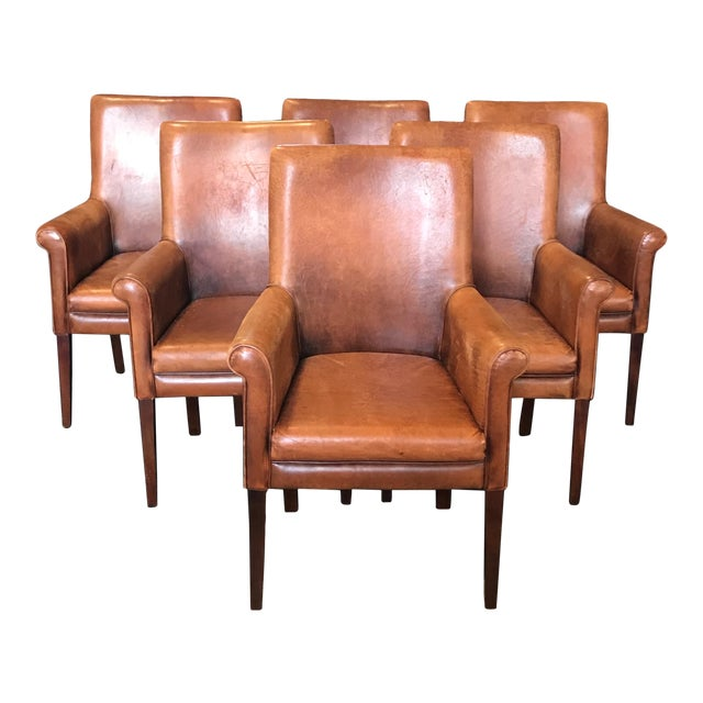 French Vintage Leather Armchairs -Set of 6 For Sale