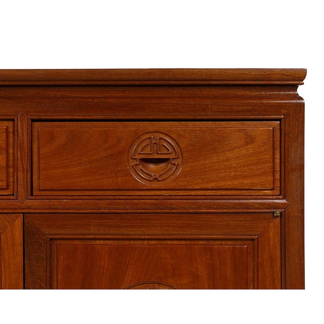 Rosewood 1950s Chinese Carved Rosewood Sideboard Buffet Table For Sale - Image 7 of 13