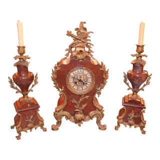 Antique French Marble Mantel Clock and Candelabra Set For Sale