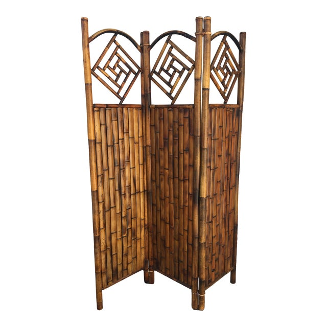 Vintage Late 20th Century Rattan Dressing Screen Room Divider With Fretwork For Sale