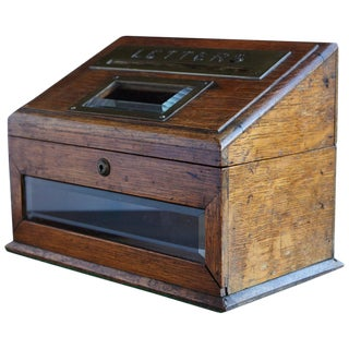 Mid-19th Century Country House Oak Letter Box With Brass Slot and Beveled Glass For Sale