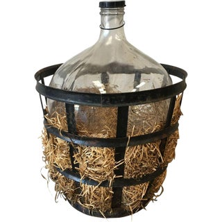 Antique Carboy Demijohn Wine Holder in Iron Basket For Sale