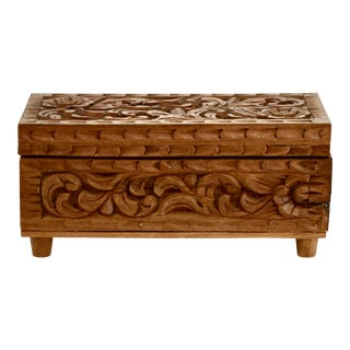 """Folk Art Footed Hand Carved 8"""" Wood Box For Sale"""