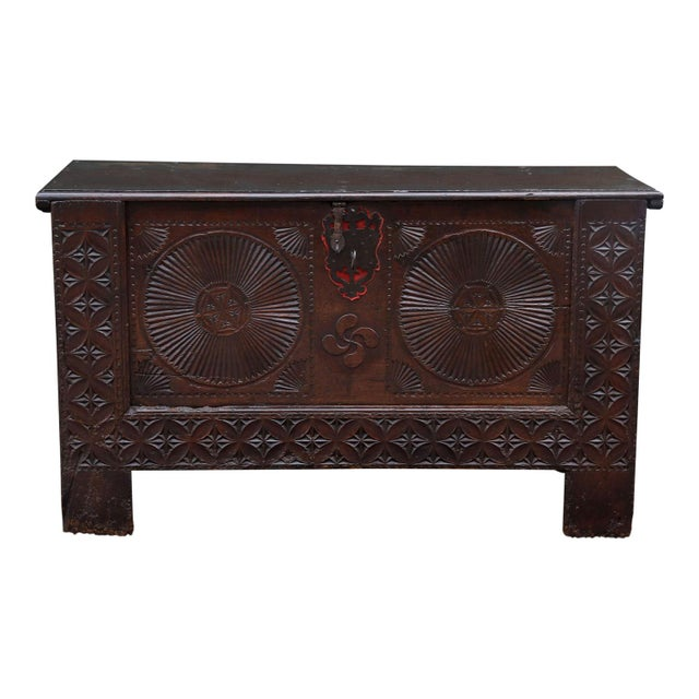 18th century coffer (or trunk), from Northern Spain, decorated with geometric carvings and punch pattern designs,...
