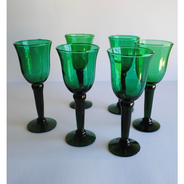 Vintage Emerald Green Wine Glasses - Set of 6 - Image 4 of 4