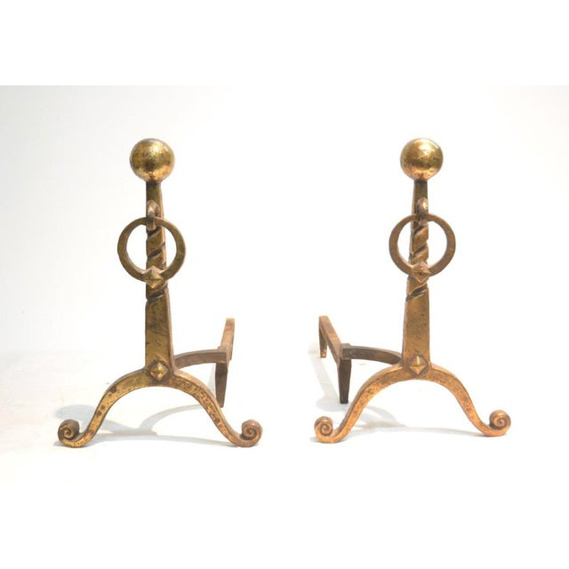 1950s Pair of French Art Déco Andirons For Sale - Image 5 of 5