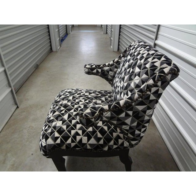Gio Ponti James Mont Inspired Ebonized Chairs With Hoof Feet-A Pair For Sale - Image 4 of 13