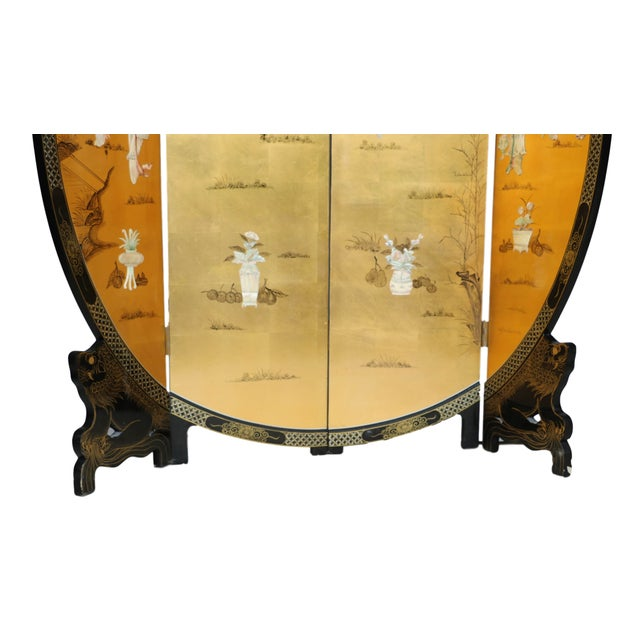 Chinese Four Panel Gilt Lacquer Floor Screen - Image 5 of 9