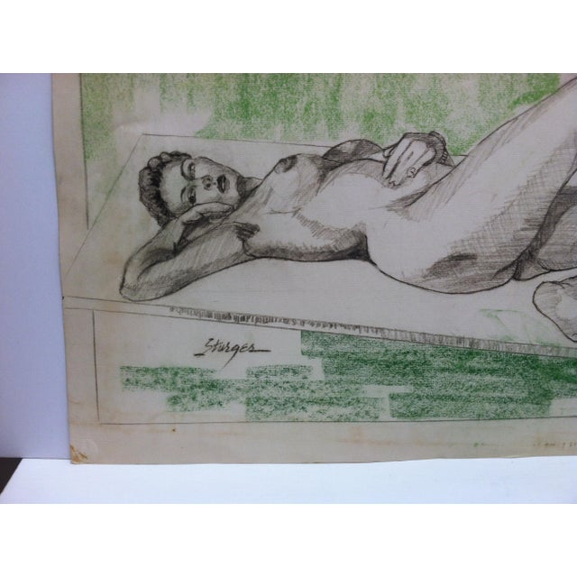 """Figurative 1955 Vintage """"Sexy Woman - Laying Nude"""" Tom Sturges Jr. Original Drawing For Sale - Image 3 of 5"""