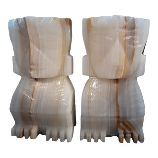 Pair Hand Carved White and Veined Marble Aztec Style Bookends For Sale