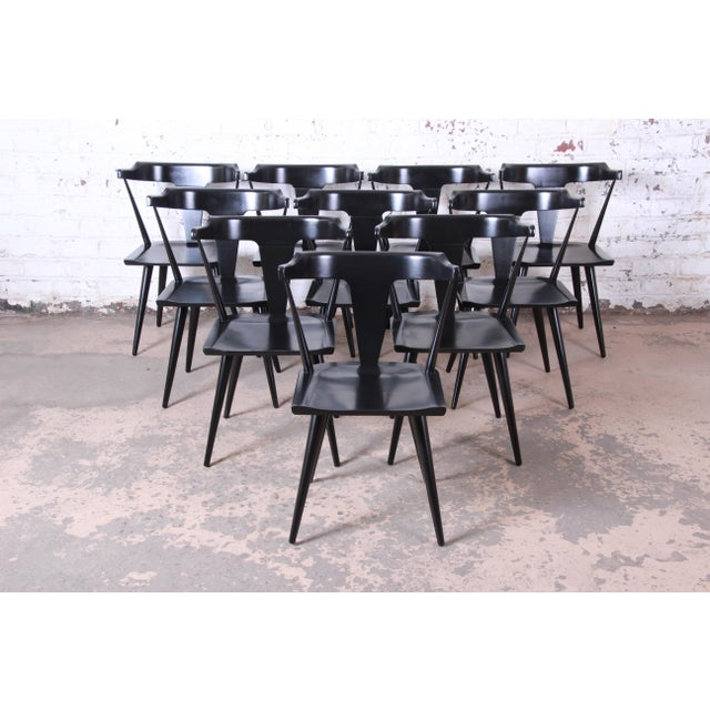 Paul McCobb Planner Group T-Back Black Lacquered Solid Maple Dining Chairs, Set of Ten For Sale - Image 13 of 13