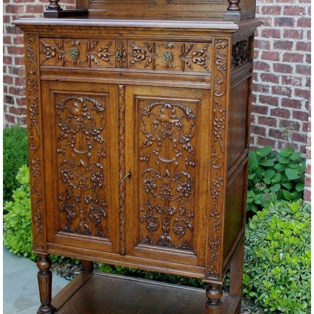 Wood Antique French Oak 19th Century Renaissance Revival Gothic Vestry Sacristy Wine Altar Cabinet Bookcase For Sale - Image 7 of 13