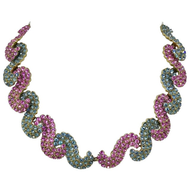 1950s Schiaparelli Pink and Blue Rhinestone Necklace For Sale In Los Angeles - Image 6 of 6