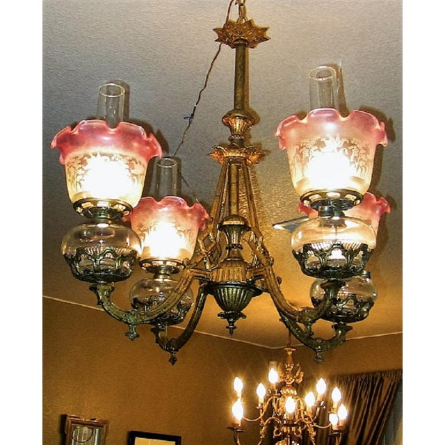 19c Pair of Bradley and Hubbard Gold Leaf 4 Arm Chandeliers For Sale - Image 10 of 13