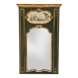 Vintage Italian Trumeau Mirror With Original Painting and Gilt Gold Plaster Details For Sale