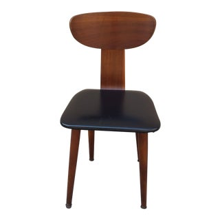 1940s Mid Century Modern Black Vinyl Bentwood Desk Chair