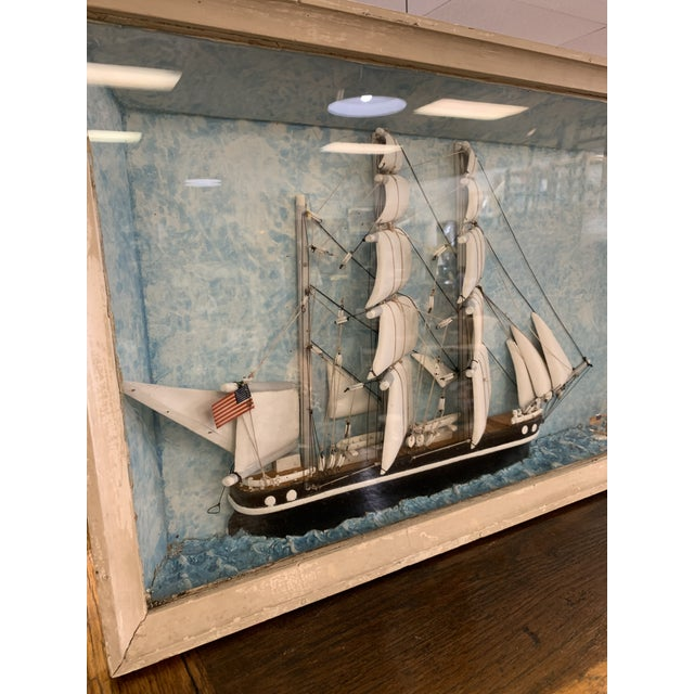 Early 20th Century Vintage Nautical Diorama Art Piece in Shadowbox For Sale - Image 5 of 10