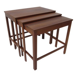 Peter Hvidt Teak Nesting Tables for France and Son Denmark - Set of 3 For Sale