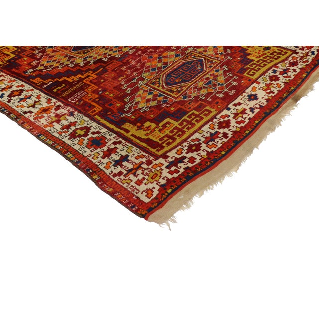 Antique Turkish Oushak with Modern Tribal Design - Image 2 of 5