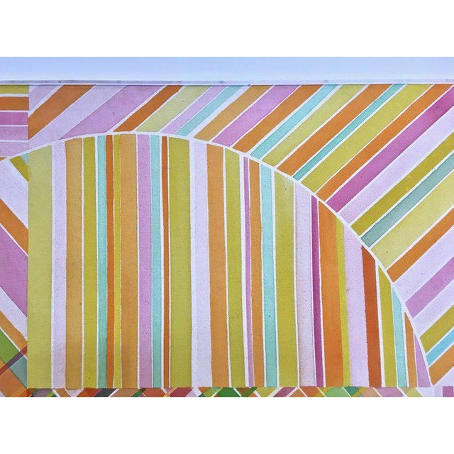 Abstract Mid-Century Modern Hard Edge Optical Art Painting, Signed, Circa 1960s For Sale - Image 3 of 13