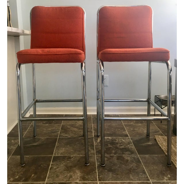 Mid-Century Orange Upholstered Chrome Tube Bar Stools - A Pair For Sale - Image 10 of 10