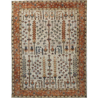 Transitional Beige and Orange Color Tree of Life Pattern Hand-Knotted Wool Carpet - 8′ × 10′ For Sale