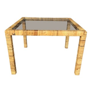 Vintage Wrapped Rattan Side Table For Sale