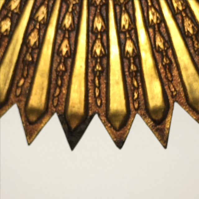 Mid Century Modern Argentinian Gilded Wood Starburst Convex Wall Mirror - Image 6 of 7