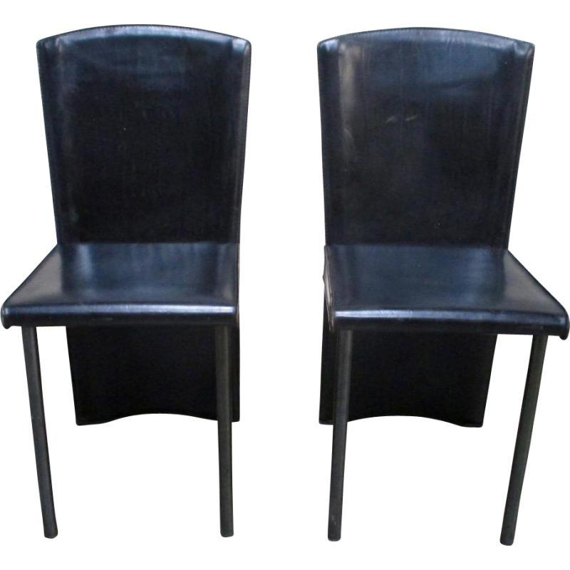 Zanotta Italian Mid Century Modern Leather Chairs   A Pair