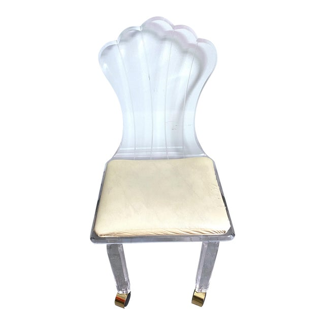 Vintage Lucite Fan Shell Back Chair by Hill Mfg For Sale