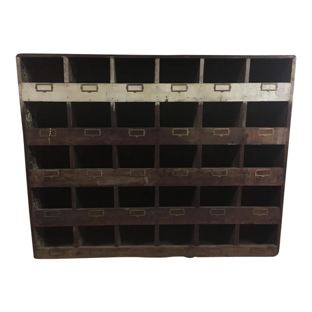 Old Hardware Cubby Mail Sorter Display Cabinet - Image 1 of 5