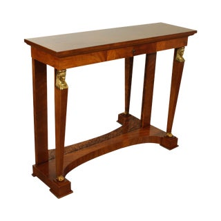 Egyptian Revival Empire Style Mahogany Mirror Back Console Petticoat Table For Sale