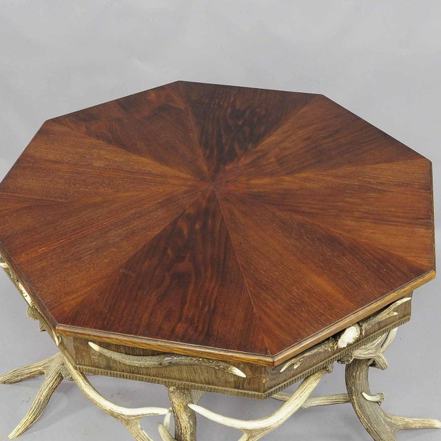 Late 19th Century 1900 Octagonal Antler Table For Sale - Image 5 of 7