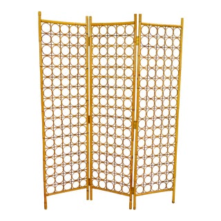 Vintage Bamboo Wicker Room Divider Screen For Sale