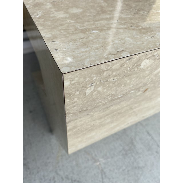 Wood Faux Travertine Geometric Shapes Side Tables a Pair. For Sale - Image 7 of 13