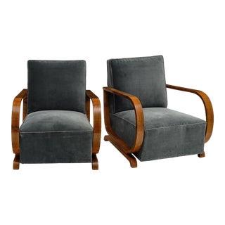 Austrian Art Deco Armchairs - a Pair For Sale