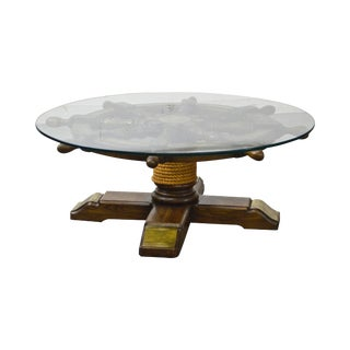 Nautical Ships Wheel Vintage Round Glass Top Coffee Table