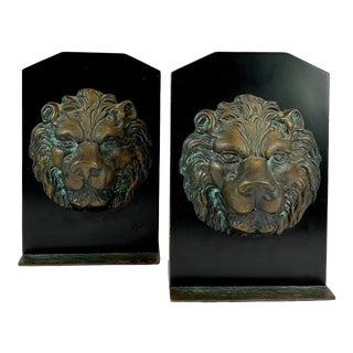 1960s Metal and Wood Lion Bookends - a Pair For Sale