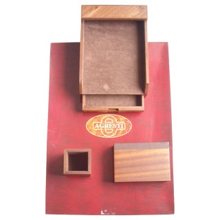 Agresti Blotter and Desk Set in Elm Wood - 4 Pieces For Sale